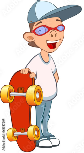Illustration of a Cute Boy. Cartoon Character. Skateboarding