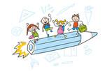 Fototapety Strichfiguren Kinder bunt Schulstart Schulanfang Einschulung Vektor