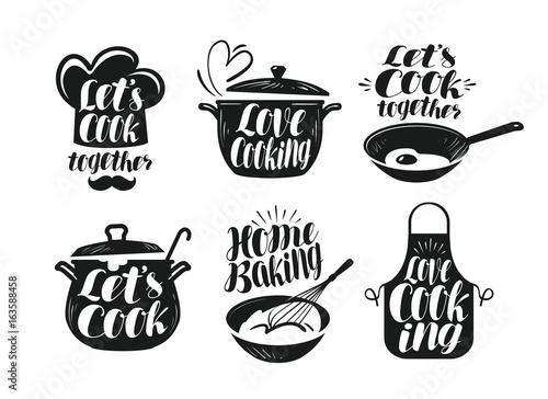 Cooking, cookery, cuisine label set. Cook, chef, kitchen utensils icon or logo. Handwritten lettering, calligraphy vector illustration - 163588458