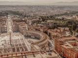 Old photo with aerial view over St. Peter's Square in the Vatican City - 163589203