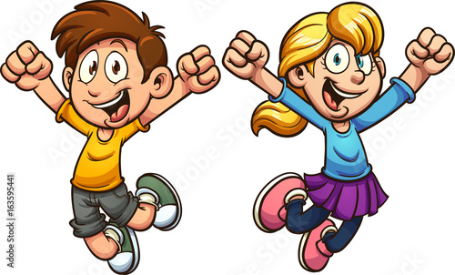 Happy cartoon boy and girl. Vectorclip art illustration with simple gradients. Each on a separate layer.  - 163595441