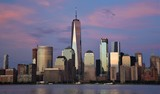The Freedom Tower, World Financial Center, and the skyline of downtown Manhattan from Jersey City at sunset.