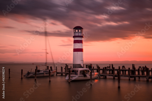 Podersdorf Austria lighthouse in night