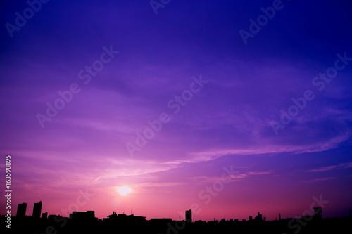 Foto op Canvas Violet 雨上がりの夏の夕空