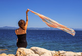 Beautiful Girl With Colored Scurf. Travel and Vacation. Freedom Concept