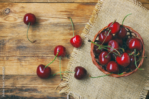bunch of ripe cherries in basket