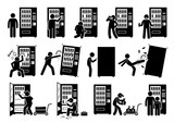 People with Vending Machine. Pictogram depicts a person using vending machine and destroying it. The stick figures also shows a worker stocking up, fixing, and collecting the money from it.  - 163612219