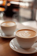 Two white cups of fragrant cappuccino stand on a wooden table. Coffee with milk  on the table, front view. - 163614252