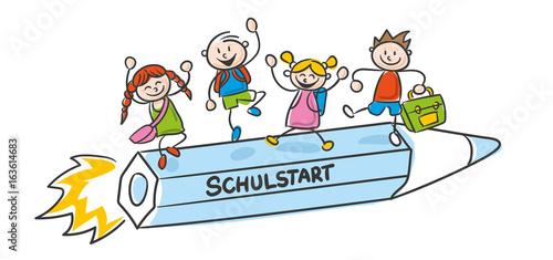 Strichfiguren Strichmännchen Kinder bunt Schulstart Vektor - 163614683