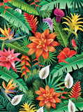 Background from tropical flowers - 163617417