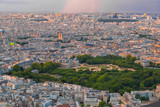 Paris city at sunset in France