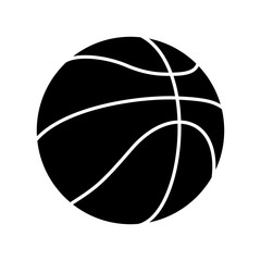 Black and White Basketball Ball Silhouette Vector Icon Isolated