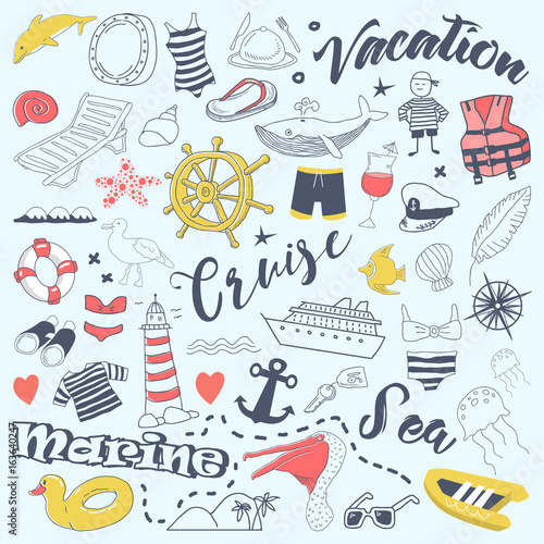 Staande foto Kunstmatig Beach Vacation Freehand Doodles with Cruise Elements. Summer Adventure Hand Drawn Set. Vector illustration