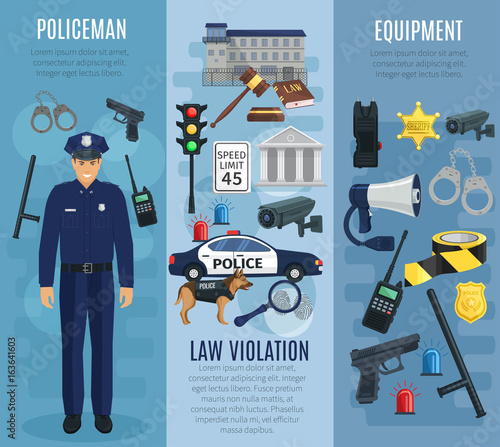 Policeman with equipment, law violation banner set