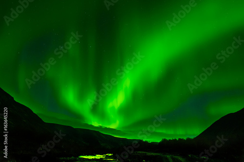 Northern Lights. The radiance in the sky. Aurora Borealis