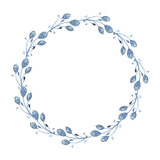 Watercolor indigo floral wreath with twig, branch and abstract leaves - 163650419
