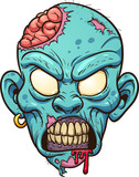 Cartoon zombie head. Vector clip art illustration with simple gradients. All in a single layer.  - 163658833