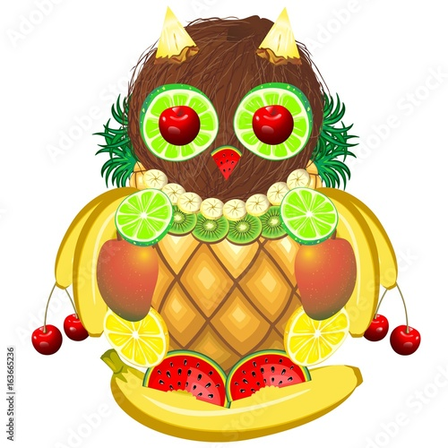 Foto op Plexiglas Draw Owl Juicy Fruits