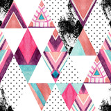 Watercolor ornate rhombuses seamless pattern. - 163665410
