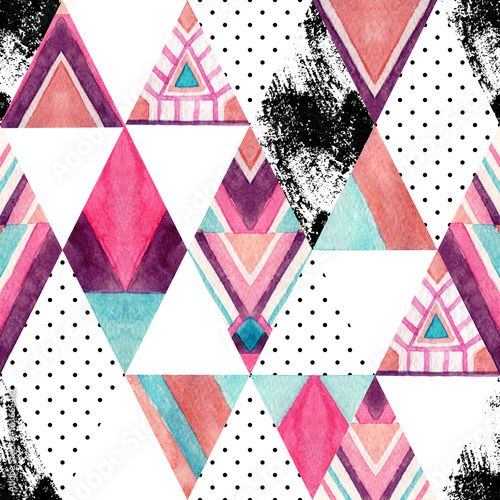 Watercolor ornate rhombuses seamless pattern. - 163665410