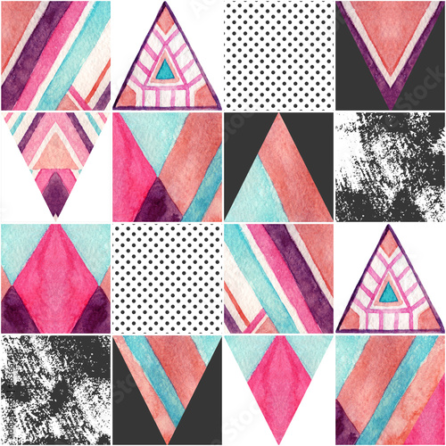 Abstract square seamless pattern. - 163667415
