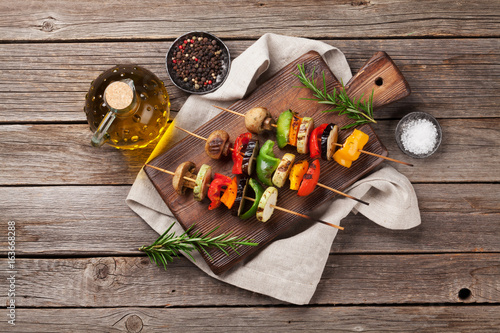 Grilled vegetables on cutting board - 163668288