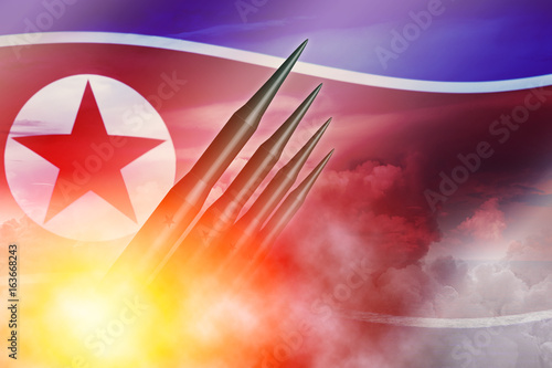 North Korean lunch ICBM missile for nuclear bomb test illustration concept Poster