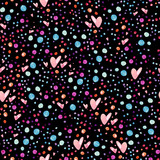Watercolor seamless pattern with bubbles and hearts - 163671214