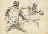 Sport, Table tennis, Ping-Pong. An hand drawn, line art, picture. - 163679029