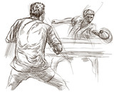 Sport, Table tennis, Ping-Pong. An hand drawn, line art, picture. - 163679061