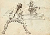 Sport, Table tennis, Ping-Pong. An hand drawn, line art, picture. - 163679079
