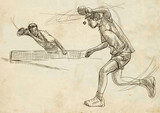Sport, Table tennis, Ping-Pong. An hand drawn, line art, picture. - 163679222