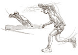Sport, Table tennis, Ping-Pong. An hand drawn, line art, picture. - 163679252