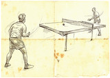 Sport, Table tennis, Ping-Pong. An hand drawn, line art, picture. - 163681485