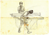 Sport, Table tennis, Ping-Pong. An hand drawn, line art, picture. - 163682240