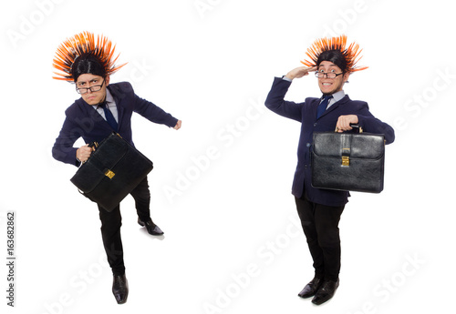 Funny man with mohawk hairstyle Poster