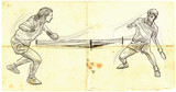 Sport, Table tennis, Ping-Pong. An hand drawn, line art, picture. - 163683470