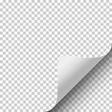 Sheet of transparent paper with curled corner and soft shadow. Element with space for text, ad and other aims. Template paper design. Vector illustration. - 163683676