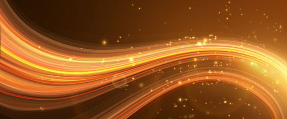 Vector background. Bright glowing curve on dark, with light particles.