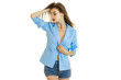 young sexy business woman only in blue jacket with closed eyes