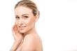 Leinwanddruck Bild - Mature woman beauty health care isolated on white