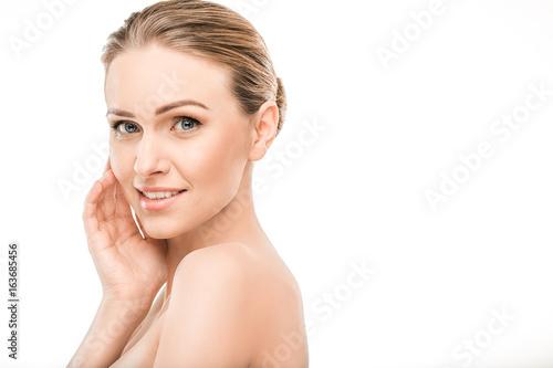 Leinwanddruck Bild Mature woman beauty health care isolated on white