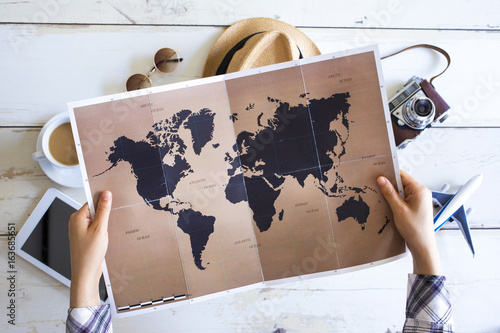 Travel planning concept on map Poster