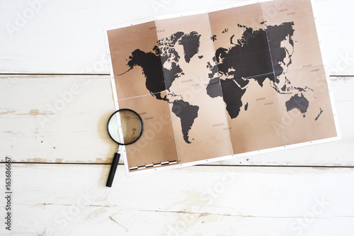 Foto Murales Travel planning concept on map