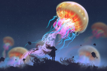 silhouette girl looking at giant jellyfish floating in the sky, digital art style, illustration painting © grandfailure