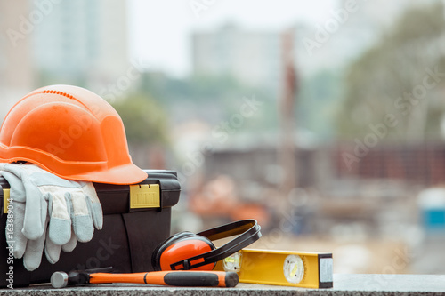 Building construction engineering tools work objects isolated