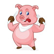 Pig cartoon holding fork and knife - 163698619