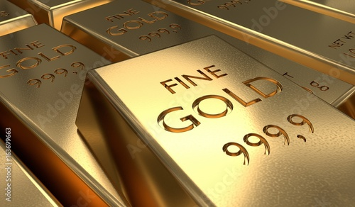 3D rendered illustration of gold bar. Finance and investment concept. - 163699663
