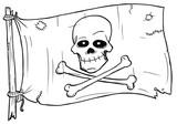 Cartoon  Of Pirate Flag  Skull And Bones Wall Sticker