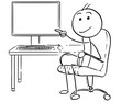 Vector Stick Man Cartoon of Man Pointing at Empty Computer Screen Display - 163700249